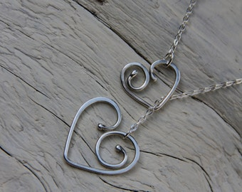 Sterling silver, silver 925  Beautiful hearts lariat style necklace