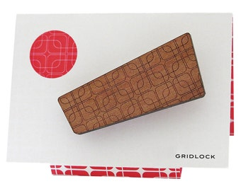 Gridlock - Retro Patterned Wooden Brooch