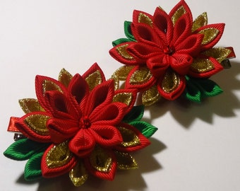 2 hair clips alligator tipe in the technique of kanzashi red and gold