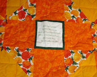 "Devotional - Healing Quilts....measuring 44"" x 44"", bright and cheery, centered with a Bible verse of comfort and encouragement."