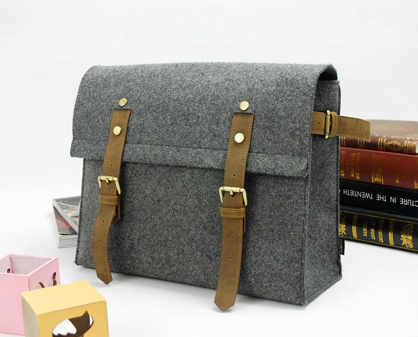 Felt Large Messenger Bag Shoulder Bag School Bag College Bag