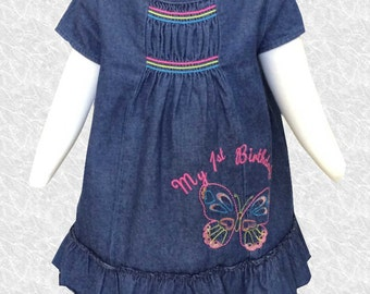 Denim First Birthday Dress - 18 MO - D149