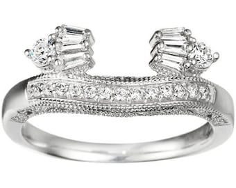 Vintage Style Wedding Ring Wrap - Sterling Silver  with Cubic Zirconia ( .39ct )