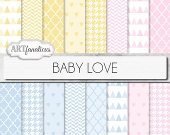 "16 Baby digital papers ""BABY LOVE"" pink, blue, yellow, white backgrounds featuring hearts, quatrefoil, houndstooth, triangles, herringbone"