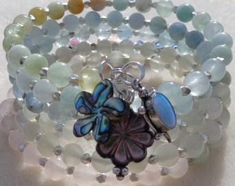 Multi strand Bracelet, Memory Wire Bracelet, Coiled Bracelet, Wrap Bracelet, Aquamarine, Moonstone, Pink Quartz Sterling Charm Bracelet