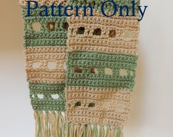 Narrow Scarf Beginner Crochet Pattern, Scarf Crochet Pattern for Beginners, Color Block Scarf Pattern for Crochet
