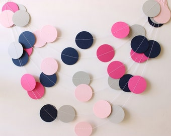 Wedding Garland, Navy, Pink & Gray Paper Garland 10 ft - Easter, Bridal Shower, Baby Shower, Party Decorations, Birthday Party, 1st Birthday