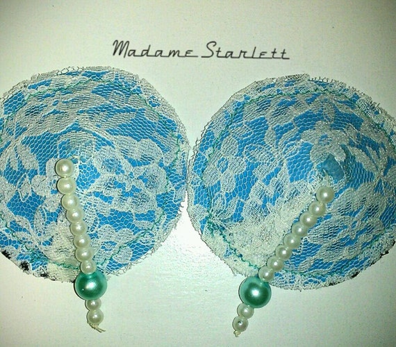 Blue Lace overlay Performance Pasties