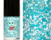 Star Bright Glitter Nail Polish - Mint, Teal, Silver, Holo, Glows In Dark!  - Handblended Sparkly Nail Color