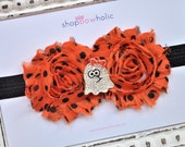 The Glenda: Double Orange and Black Polka Dot Shabby Rosette with Bling Ghost Girl Rhinestone Center YOU CHOOSE Elastic or Alligator Clip