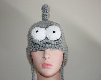 Bender 'Inspired' Crochet Earflap Hat. Robot.