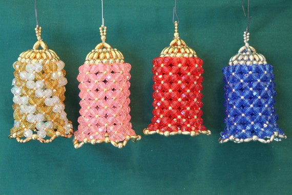 vintage beaded bell ornaments made by julesoldjewels