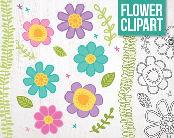 SALE * Digital Clipart Doodle Flowers for Scrapbooking and Crafting. Pastel Brights. Instant Download.