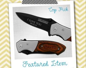 Groomsmen Gifts 1 PERSONALIZED Knife Engraved Knife Engraved Pocket Knife Hunting Knife Rescue Knife Custom Groomsman Gifts Gift for Men