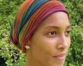 Rainbow Cover All Head wraps Turban Wraps Chemo Hair Scarf Cotton Tribal Stripes