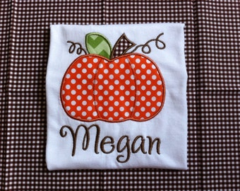 Personalized Pumpkin Applique T Shirt