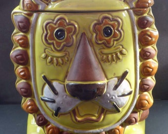 Very Unusual Vintage JAPANESE Psychedelic Lion Biscuit Barrel - 1960s Ceramic