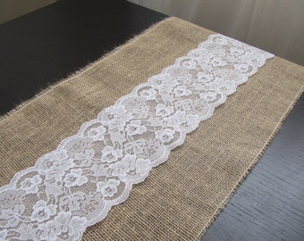 "SAMPLE Lace & Burlap Table Runner - 12.5"" x 12.5"" or 14"" x 14"""