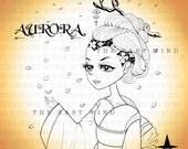 Digital stamp- 'Aurora' Cherry Blossom - 300 dpi JPEG/PNG files - MAC_aurora_06