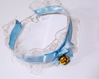 Baby Blue Lace Choker Gothic Lolita Collar Decora Cat Bell Style Anime Cosplay Victorian Bow Accessory