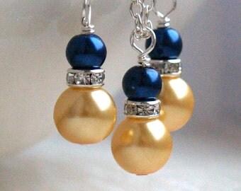 Navy Blue Yellow Necklace Earrings Set Bridesmaid Jewelry Set Yellow Blue Pearl Rhinestone Jewelry Flower Girl Jewelry Set