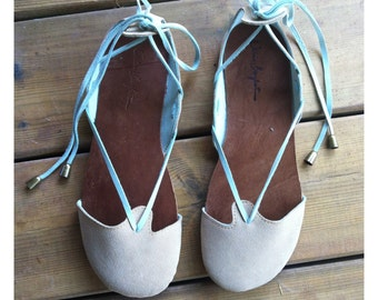 Hand Made Leather Sandal for Woman - Ma'ayan Finger Sandals- suede beige