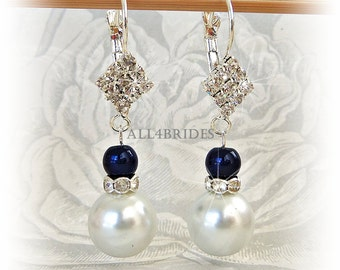 Blue and White faux pearl earrings, something blue bridal earrings, wedding day jewelry
