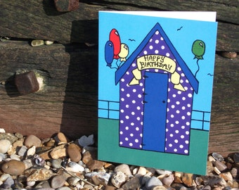 Beach Hut Birthday Card