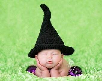 Crochet newborn baby Witch hat photo prop Halloween
