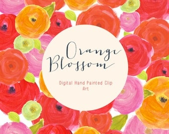 Digital Hand Painted Clip Art - Orange Blossom