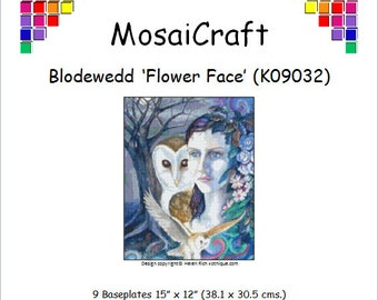 MosaiCraft Pixel Craft Mosaic Art Kit 'Blodewedd - Flower Face' (Like Mini Mosaic and Paint by Numbers)