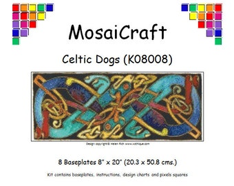 MosaiCraft Pixel Craft Mosaic Art Kit 'Celtic Dogs' (Like Mini Mosaic and Paint by Numbers)
