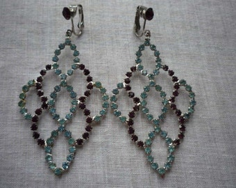 Vintage 1960 Mod Large Multi Colored Rhinestones Silver Tone Clip On Earrings.