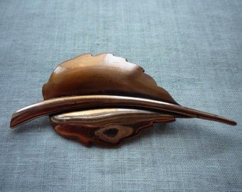 Vintage Renoir Modernistic Copper Leaf Motif Pin Brooch
