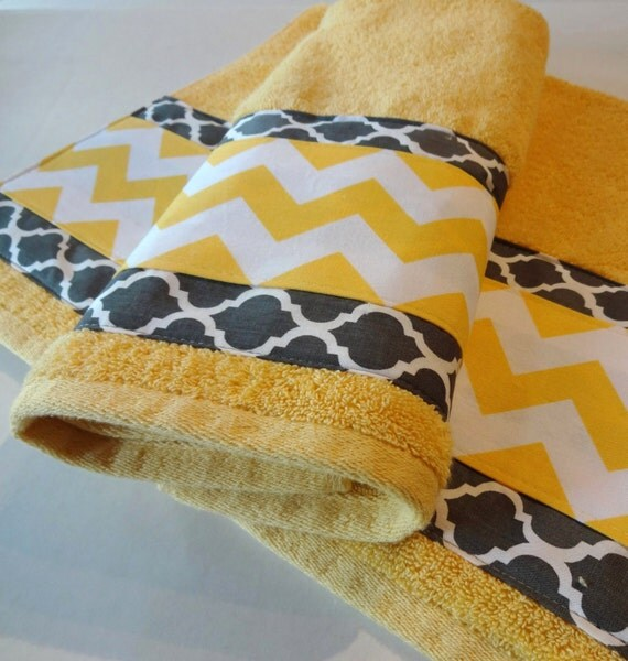 towel yellow chevron grey quatrefoil yellow and grey by augustave. Black Bedroom Furniture Sets. Home Design Ideas