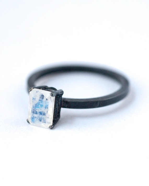 emerald cut rainbow moonstone ring oxidized silver rings