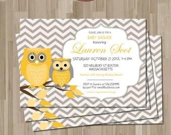 OWLS Baby Shower Invitation. DIY card. Digital Printable card.