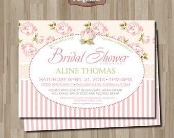 Shabby chic Bridal Shower Invitation. DIY card. Flowers. Digital Printable card.