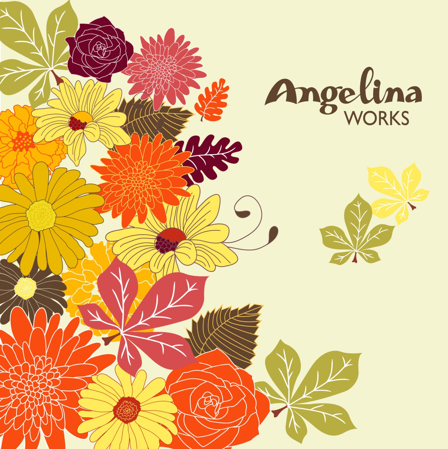 Autumn Flowers Clip Art Background. Digital Floral Clip