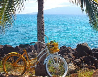 Beach Cruiser Photograph, bicycle art, bicycle photo, bike art, tropical ocean scene with orange and white bike on the beach, cycling art