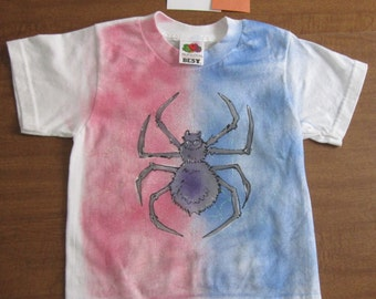 Boy's Spider T shirt size 2 to 4 Spider on Web T3  Airbrushed wearable art Spiderman Bug