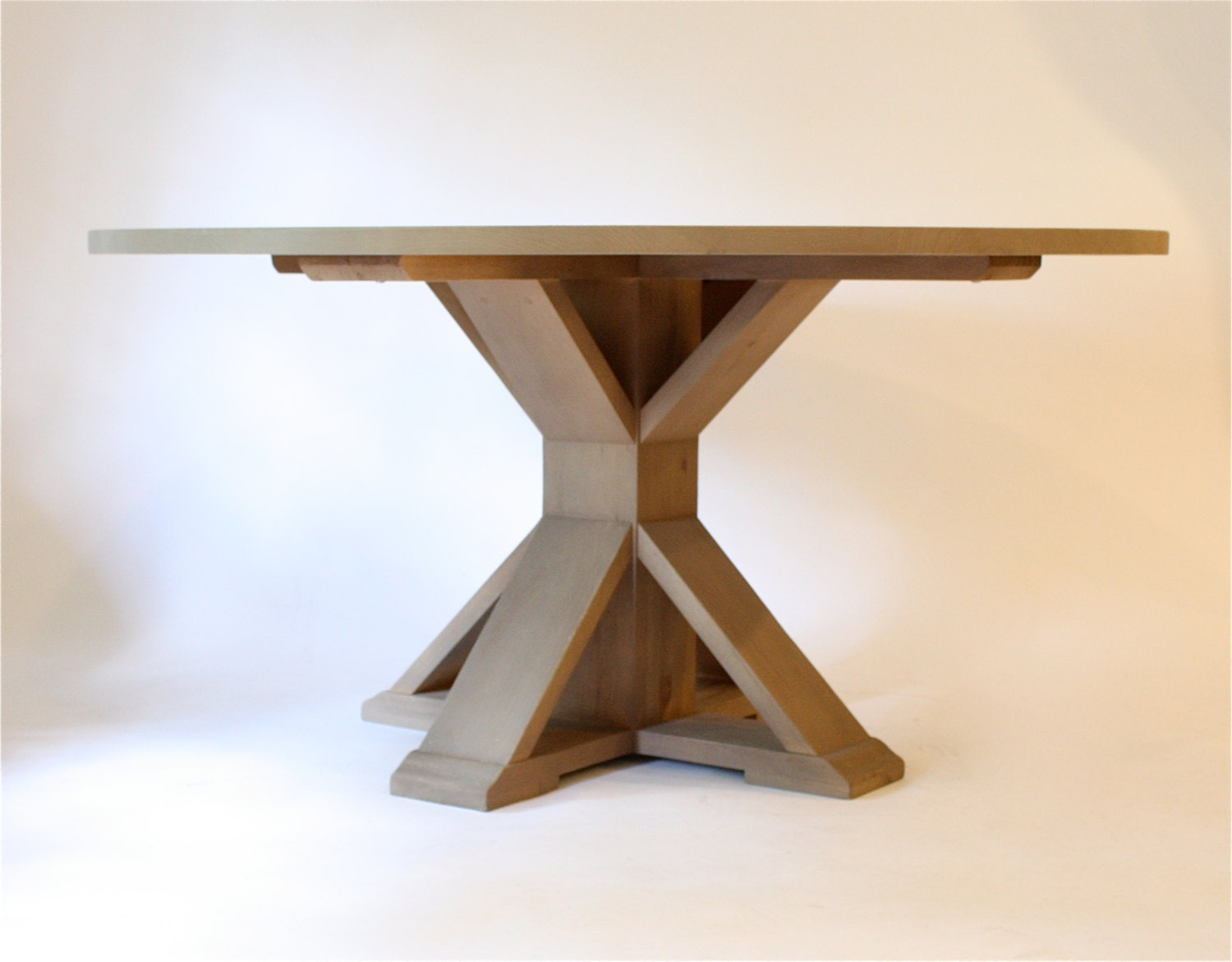 Trestle round dining table 60 natural finish by for Dining table finish