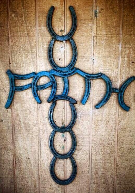 Horseshoe cross rustic country faith decor by for Faith decor