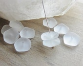 Sea Glass Bead Flat Freeform Button Spacer Crystal 14mm -15mm QTY 10