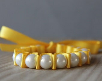 White Pearl with Canary Yellow Ribbon Bracelet
