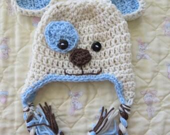 CROCHET Puppy Hat in Cream and Blue  Newborn Photo Props Baby Shower Gift Preemie, Newborn, 0-3 months, 3-6 months, bringing home baby boy