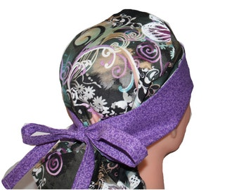 Surgical Scrub Hat - Scrub Cap -  Tie Back - Front Fold Ponytail Scrub Hat -  Purple Butterflies Lilac Teal  - 2nd Item Ships FREE