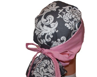 Surgical Scrub Hat Scrub Cap Flirty Front Fold Ponytail scrub hat Tie Back Grey White Damask Pink -  2nd Item Ships FREE