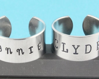 Bonnie and Clyde Rings - Adjustable Rings - Silver Rings - Best Friends Rings - Couples Rings - Size 5 Ring - Size 6 Ring - Size 7 Ring