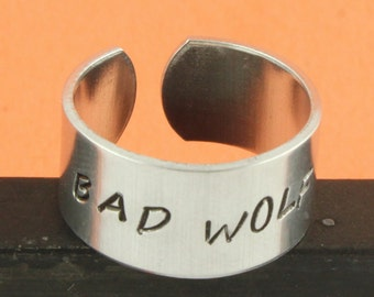 SALE - Bad Wolf Ring - Aluminum Lightning Bolt Adjustable Ring - Hand Stamped Ring